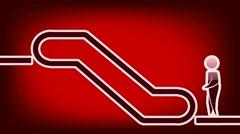 Escalator Symbol - Animation - Red 02 Stock Footage