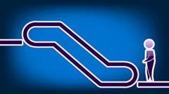 Escalator Symbol - Animation - Blue 02 Stock Footage