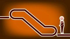 Escalator Symbol - Animation - Orange 02 Stock Footage