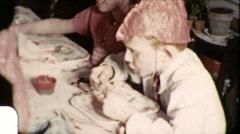 Boy Kids Read Fortune Cookie Wisdom Message 1950s Vintage Film Home Movie 8512 Stock Footage