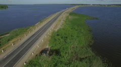 Summer day lake road aerial panorama belarus Stock Footage
