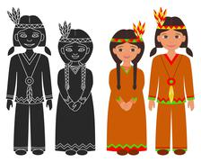Native American Indian boy and girl. - stock illustration
