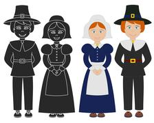 Pilgrim boy and girl. Stock Illustration
