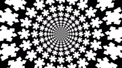Stock Video Footage of Concentric, dashing, rotating, abstract symbols, snowflakes.