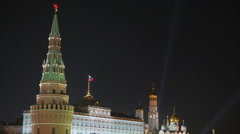 Moscow Kremlin and St. Basil's Cathedral. Night view. Stock Footage
