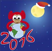 Red monkey embraces the world, the symbol of 2016 - stock illustration