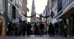 Netherlands shopping street winter Stock Footage