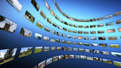 Video wall with different touristc clips, rotating. Loop-able Stock Footage