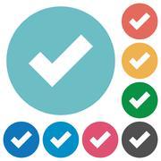 Flat ok icons - stock illustration