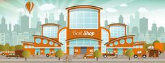 Shopping in the city (retro colors) - stock illustration