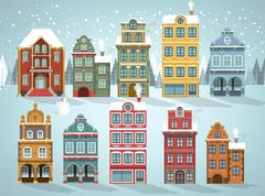 Stock Illustration of Old houses (Winter)