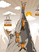 Climbers on the mountain top Stock Illustration