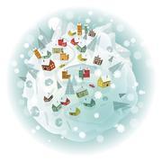 Around the world (winter scenery) - stock illustration