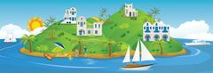Vacation in Greece - stock illustration