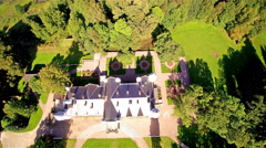 Over the top view of the Alatskivi manor in Estonia Stock Footage