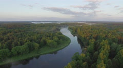Summer end sunset forest river aerial panorama aerial belarus Stock Footage