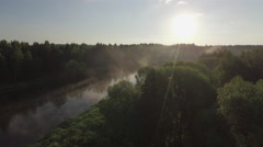 Summer sunset nature forest river aerial panorama belarus Stock Footage