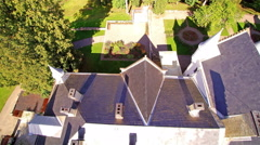 View of the rooftop of the classy Alatskivi manor - stock footage