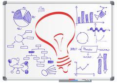 illustration of lightbulb drawn on a billboard - stock illustration