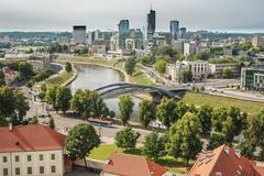 Aerial view of Old Town in Vilnius, capital city of Lithuania - stock photo