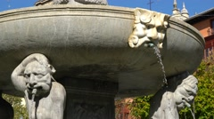 Close-up of fountain and statue in Bib-Rambla plaza in Granada, Spain - stock footage