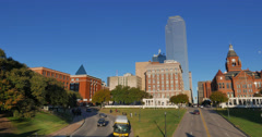 Dealey Plaza in Downtown Dallas Stock Footage
