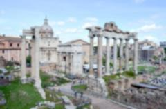 Defocused background with the ruins of the Roman Forum in Rome, Italy Stock Photos
