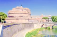Defocused background of St Angelo Castle over the Tevere River, Rome Stock Photos