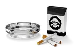 Stop smoking campaign, Cigarettes, Ashtray, Cigar box Stock Illustration