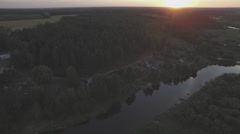 Summer sunset forest river village aerial panorama belarus Stock Footage