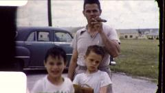 Proud American Man Smoking Puffs GIANT Cigar 1950s Vintage Film Home Movie 5516 - stock footage