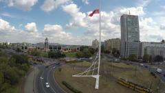 Aerial Shot of Biggest Polish Flag on Roundbound Babka in warsaw Poland Stock Footage