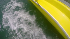 Motor Boat Trail in Calm Ocean Waters. Yacht fast race crouse Stock Footage