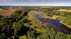 The view from the sky of the Alatskivi manor in Estonia Stock Footage