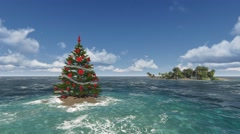 Christmas tree in the warm sea off the islands - stock footage