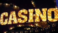 Abstract casino's flashy neon sign at night. Stock Footage