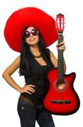 Mexican woman in funny concept on white Stock Photos