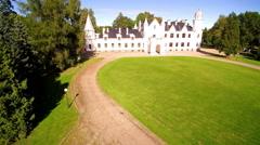 The big white house manor in Alatskivi Estonia Stock Footage