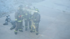 Fire Fighter In Rescue Operation Stock Footage