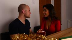 Young couple arguing. Christmas time. 50 fps. - stock footage