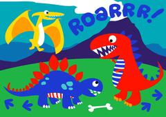 3 Cute dinosaurs standing on a hill - stock illustration