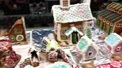 Nice christmas gingerbread houses, on a gingerbread house competition - stock footage