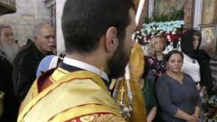 His Beatitude Patriarch Theophilos III of Jerusalem during Mass of St. George Stock Footage