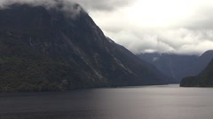 Stunning overcast of Milford Sound Fjords New Zealand Stock Footage