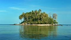 Tiny Tropical Island Paradise at Low Tide Stock Footage