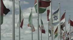 International flags wave in the wind - stock footage