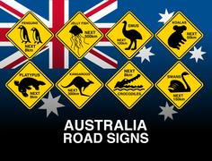Australian yellow road warning signs with flag - stock illustration