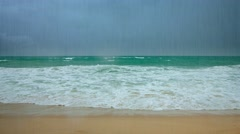 Waves of a Tropical Sea under Heavy Rains Stock Footage