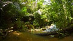 Abstract, Fisheye Clip of a Tropical Waterfall, with Sound Stock Footage