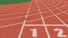 Athletics stadium running track, sport field Stock Footage